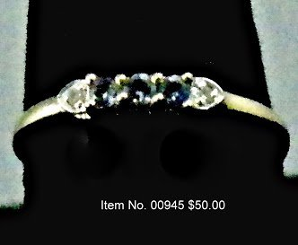 Item No. 00945 Diamond and Sapphire Ring: in 10 Yellow Gold Setting