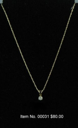 Item No. 00031 Diamond Necklace in 14K Yellow Gold Setting