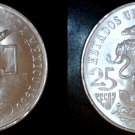 1968 Mexican 25 Peso World Silver Coin - Mexico Olympics