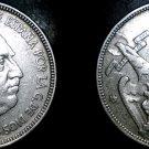 1957 (62) Spanish 5 Peseta World Coin - Spain Caudillo