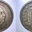 1947 (54) Spanish 1 Peseta World Coin - Spain Caudillo
