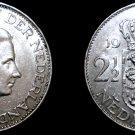 1960 Netherlands 2 1/2 Gulden World Silver Coin