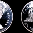 1986 Proof Canadian Silver Dollar World Coin - Canada Vancouver Train