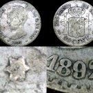 1892/89 (92) Spanish 50 Centimos World Silver Coin - Spain