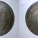 1894-A Haitian 2 Centimes World Coin - Haiti