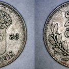 1938-G Swedish 25 Ore World Silver Coin - Sweden