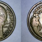 1932 French 1 Franc World Coin - France