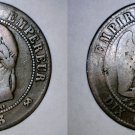 1863-K French 10 Centimes World Coin - France