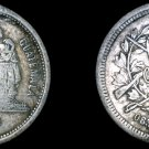 1881 Guatemalan 25 Centavo World Silver Coin - Guatemala - Holed