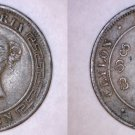1870 Ceylon Sri Lanka 1 Cent World Coin