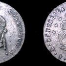 1858-PTS FJ Bolivian 1/2 Sol World Silver Coin - Bolivia - Holed