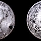 1839 Great Britain 1 Shilling World Silver Coin - UK - England - Holed
