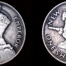 1935 New Zealand 1 Shilling World Silver Coin - Holed