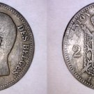 1867 Belgian 2 Franc World Silver Coin - Belgium - Holed