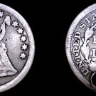 1856-P Seated Liberty Silver Half Dime - Holed