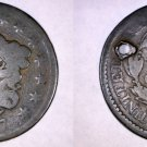 1817 United States Coronet Head 1 Cent - Holed
