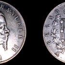 1871-M BN Italian 5 Lire World Silver Coin - Italy - Holed