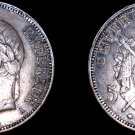 1868-A French 5 Franc World Silver Coin -  Napoleon III - Holed