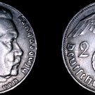 1936-D German 2 Reichsmark World Silver Coin -  Germany 3rd Reich