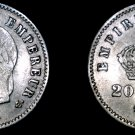 1867-A French 20 Centimes World Silver Coin - France