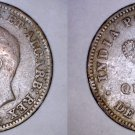 1886 Indian Portuguese Goa Quarter 1/4 Tanga World Coin - India