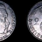 1937-J German 2 Reichsmark World Silver Coin -  Germany 3rd Reich