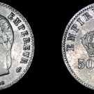 1865-BB French 50 Centimes World Silver Coin -  France