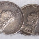 Two(2) 1893 Great Britain 3 Pence World Silver Coins - Jewelry - Single Cufflink