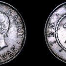 1911-H Sarawak 10 Cent World Silver Coin