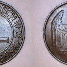 1932-A Weimar Germany 4 Pfennig World Coin