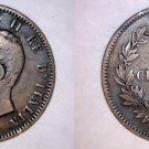1866-N Italian 10 Centesimi World Coin - Italy