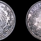 1915 A German Empire Half (1/2) Mark World Silver Coin -  Germany