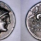 111-110BC Roman Republic Mallia-2 Manlius Mancinus AR Denarius Coin-Ancient Rome