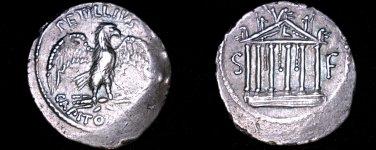 43BC Roman Republic Petillia-3 AR Denarius Coin - Ancient Rome