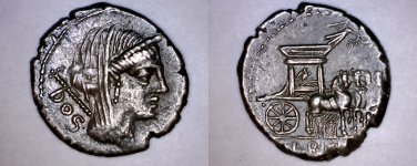 87BC Roman Republic Rubria-2 L Rubrius Dossnus AR Denarius Coin - Ancient Rome