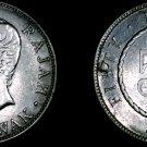 1906-H Sarawak 50 Cent World Silver Coin - Plugged