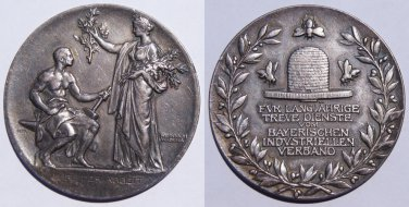 1866-1912 German States Bavaria Lutipold Prinzregent Silver Medal