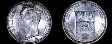 1960 Venezuelan 50 Centimos World Silver Coin - Venezuela