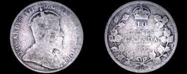 1902-H Canada 10 Cent World Silver Coin - Canada - Edward VII