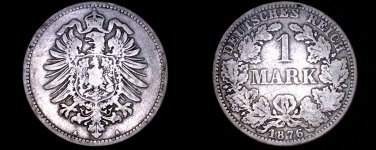 1876 A German Empire 1 Mark World Silver Coin -  Germany