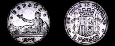 1870(74)-DE M Spanish 2 Peseta World Silver Coin - Spain