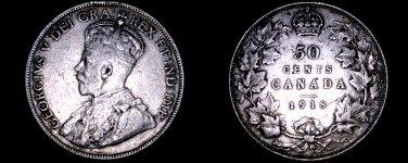1918 Canada 50 Cent World Silver Coin - Canada