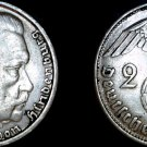1938-B German 2 Reichsmark World Silver Coin -  Germany 3rd Reich