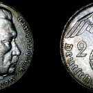 1939-A German 2 Reichsmark World Silver Coin -  Germany 3rd Reich