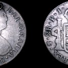 1808-PTS PJ Bolivian 2 Reales World Silver Coin - Charles IIII - Holed - Bolivia