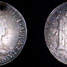 1821 NG Guatemalan 4 Reales World Silver Coin - Guatemala - Ferdinand VII- Holed