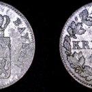 1853 German States Bavaria 1 Kreuzer World Silver Coin