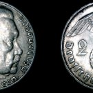 1938-J German 2 Reichsmark World Silver Coin -  Germany 3rd Reich