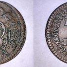 1779 Italian States Papal States Bologna 1 Quattrino Coin - Pius VI - Overstrike