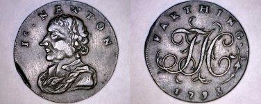 1793 Great Britain Middlesex Farthing Conder Token - D&H 1159